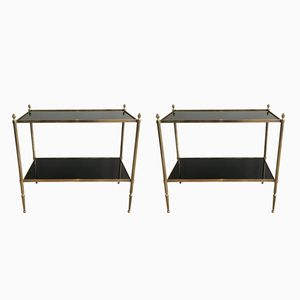 Neoclassical Brass Side Tables, 1940s, Set of 2