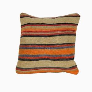 Gestreifter orangener Kelim Kissenbezug von Vintage Pillow Store Contemporary, 2010er