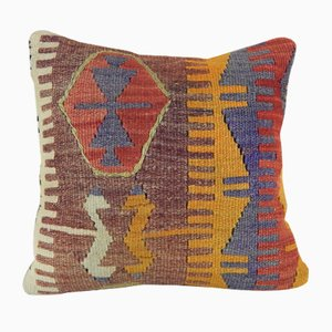 Turkish Orange Wool Kilim Pillow Cover from Vintage Pillow Store Contemporary, 2010s