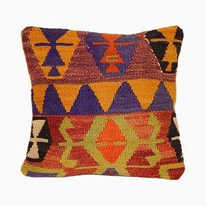 Housse de Coussin Kilim Orange et Vert de Vintage Pillow Store Contemporary, Turquie