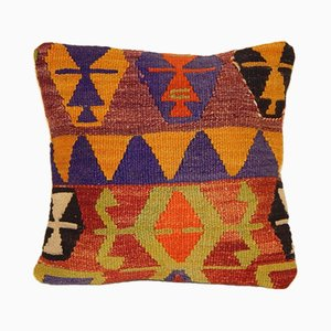 Orange & Green Turkish Kilim Pillow Cover from Vintage Pillow Store Contemporary