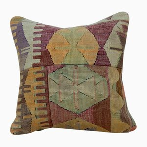 Handwoven Turkish Green & Orange Kilim Pillow Cover from Vintage Pillow Store Contemporary