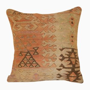 Turkish Muted-Color Kilim Cushion Cover from Vintage Pillow Store Contemporary