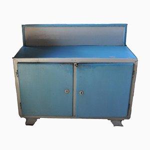 Mobiletto vintage verniciato bianco e blu, anni '40