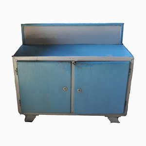 Vintage Blue & White Painted Cabinet, 1940s