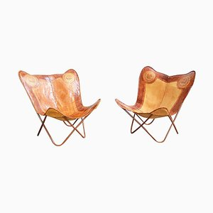 Vintage Leather Butterfly Chairs, 1960s, Set of 2