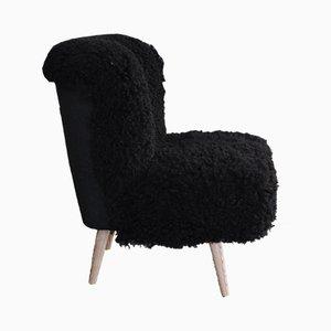 Silla de cóctel Mid-Century de piel de oveja, años 60