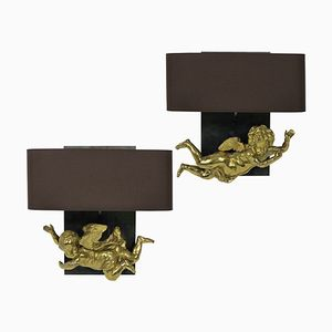 Antique Gilt Brass Cherub Wall Sconces, Set of 2