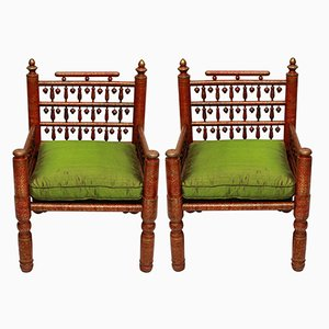 Red Lacquered Punjabi Wedding Chairs, 1940s, Set of 2