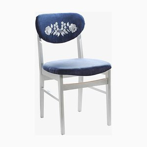 Kalocsa Patterned Blue Chair, 1950s