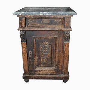 Antiker deutscher Nachttisch oder Beistelltisch mit Marmorplatte