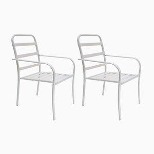 Stapelbare Hyperleggera Gartenstühle mit elastischen Gurten, 1970er, 2er Set