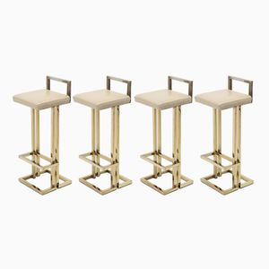 Brass Bar Stools from Maison Jansen, 1970s, Set of 4