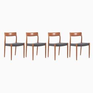Modell 77 Stühle mit Kuhfell von Niels Otto Møller für JL Møllers, 1960er, 4er Set