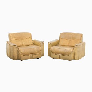 Buffalo Leather Lounge Chairs, 1960s, Set of 2