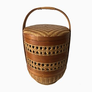 Vintage French Rattan Basket, 1970s