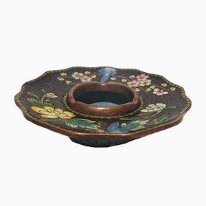Vintage Chinoserie Ceramic and Glass on Brass Ashtray, 1910