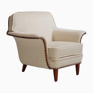 Weißer Sessel mit gebeizten Beinen und Verzierungen aus Buchenholz, 1950er