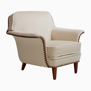 White Armchair with Stained Beech Legs and Stud Decorations, 1950s