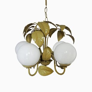 Gold & White Leaf Chandelier, 1970s