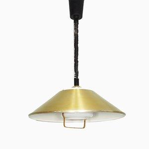 Lampe à Suspension Dorée avec Abat-Jour en Verre Laiteux, 1960s