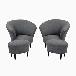 Mid-Century Armchairs with Footstools by Ico & Luisa Parisi, Set of 2