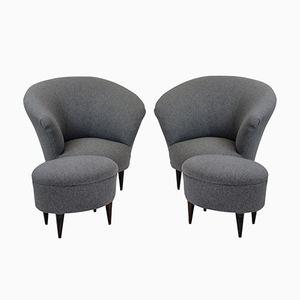 Mid-Century Armlehnstühle mit Fußhocker von Ico & Luisa Parisi, 2er Set