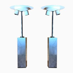 Lampade da tavolo in marmo di Carrara di Florence Knoll per Knoll International, anni '60, set di 2
