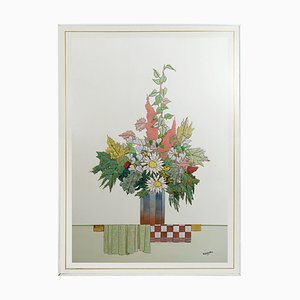 Enamel Fall Bouquet Wall Relief by W. Stavlon, 1980s