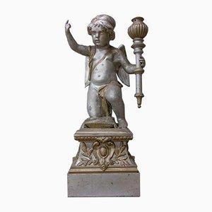 Escultura de ángel de jardín francesa antigua de zinc