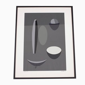 Grey Picture Lithograph by Paule Vezelay for Paule Nemours, 1973