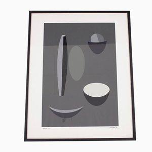 Litografia grigia di Paule Vezelay per Paule Nemours, 1973