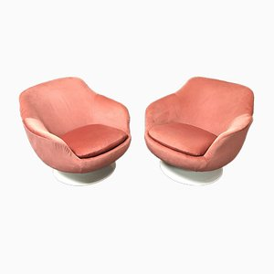Mid-Century Pink Swivel Armchairs from Swedfurn, Set of 2