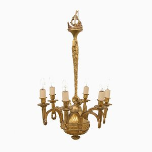 Lampadario in ottone dorato, XIX secolo