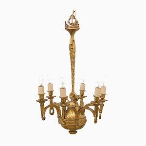 Lámpara de araña de latón dorado, siglo XIX
