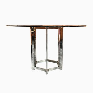Vintage Chrome and Smoked Glass Dining Table by Richard Young for Merrow Associates