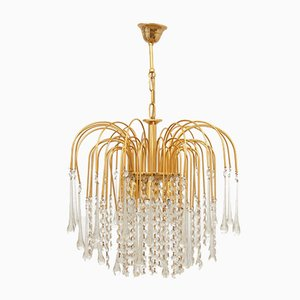 Lámpara colgante italiana bañada en oro, años 70