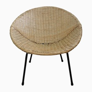 Vintage Wicker Bucket Chair, 1970s