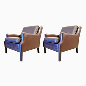 Scandinavian Leather Armchairs, 1950s, Set of 2