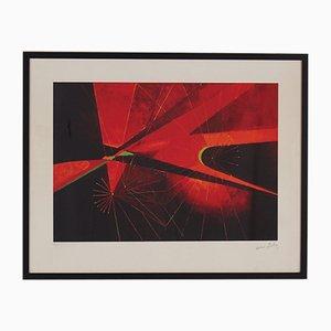 Lithographie Naissance de l'Univers par Antoine Pevsner pour Paule Nemours, 1973