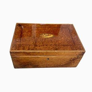 Biedermeier Schachtel aus Thujawurzeln, Ahorn & Ebenholz, 1840er
