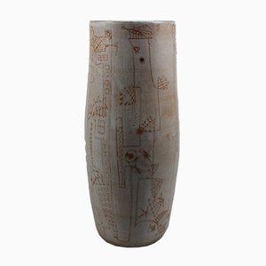 Vaso vintage in ceramica con decorazione incisa di Jan Oosterman, 1957