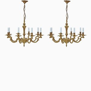 Large Vintage Gold-Plated Brass Chandeliers, Set of 2