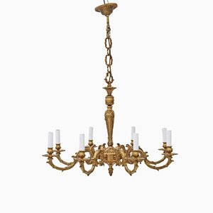 Large Vintage Ormolu Brass 8-Arm Chandelier