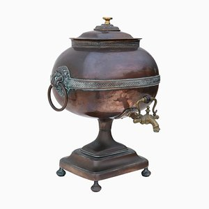 Urne à Thé Samovar Regency Antique en Laiton et Cuivre