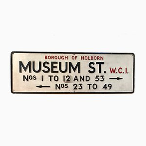Señal de tráfico de la calle Museum, década de 1900