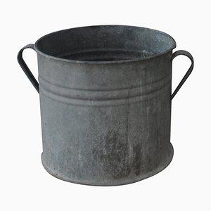 Macetero vintage de zinc galvanizado, años 50