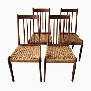 Sedie in teak e corda, Scandinavia, anni '60, set di 4