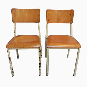 Vintage Industrial Stacking Chairs, 1950s, Set of 2