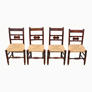 19th Century Elm Kitchen Dining Chairs, Set of 4